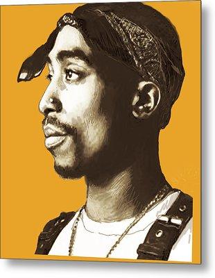 Tupac Shakur Stylised Pop Art Poster Metal Print by Kim Wang