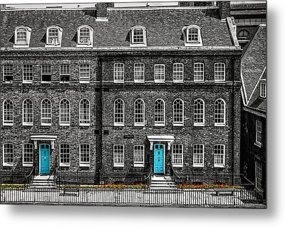 Turquoise Doors At Tower Of London's Old Hospital Block Metal Print by James Udall