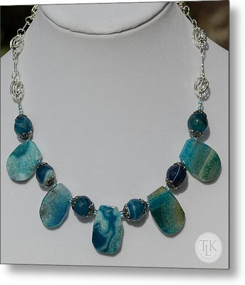 Turquoise And Sapphire Agate Necklace 3674 Metal Print by Teresa Mucha
