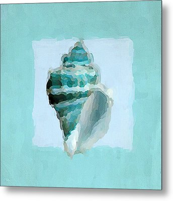 Turquoise Seashells Viii Metal Print by Lourry Legarde