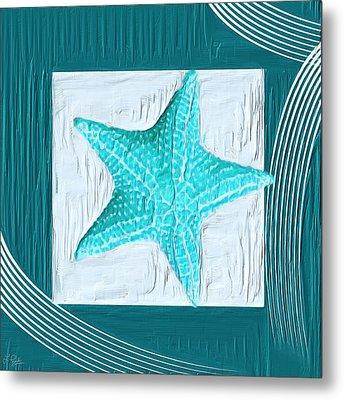 Turquoise Seashells Xviii Metal Print by Lourry Legarde