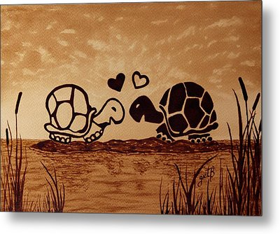 Turtles Love Coffee Painting Metal Print by Georgeta  Blanaru