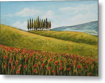 Tuscan Field With Poppies Metal Print by Melinda Saminski