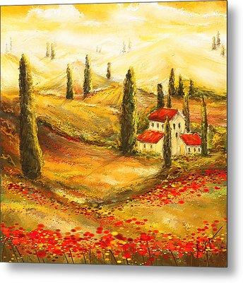 Tuscan Poppies - Tuscan Poppy Fields Impressionist Metal Print by Lourry Legarde