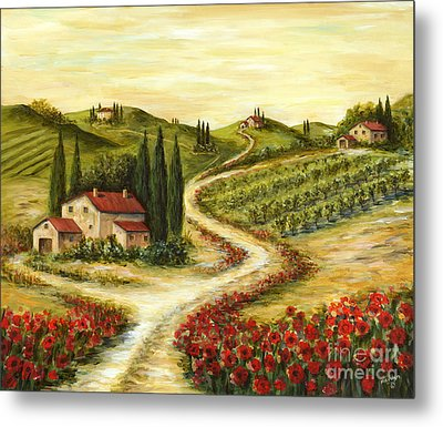 Tuscan Road With Poppies Metal Print by Marilyn Dunlap