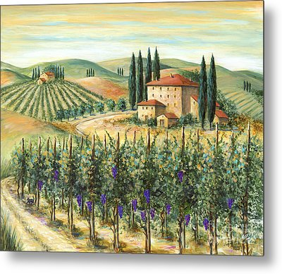 Tuscan Vineyard And Villa Metal Print by Marilyn Dunlap