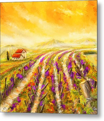 Tuscan Vineyard Sunset - Vineyard Impressionist Paintings Metal Print by Lourry Legarde
