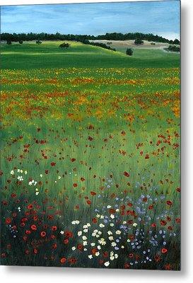 Tuscany Flower Field Metal Print by Cecilia Brendel