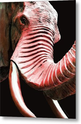 Tusk 4 - Red Elephant Art Metal Print by Sharon Cummings