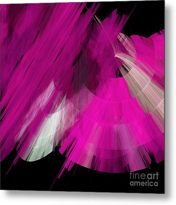 Tutu Stage Left Abstract Fuchsia Metal Print by Andee Design