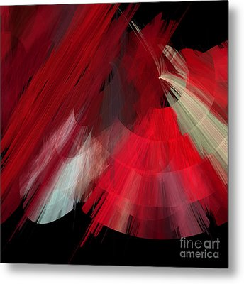 Tutu Stage Left Red Abstract Metal Print by Andee Design