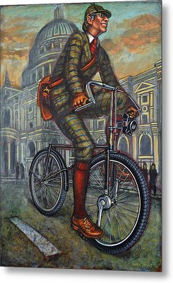 Bob On His Bantam St Pauls London Metal Print by Mark Howard Jones