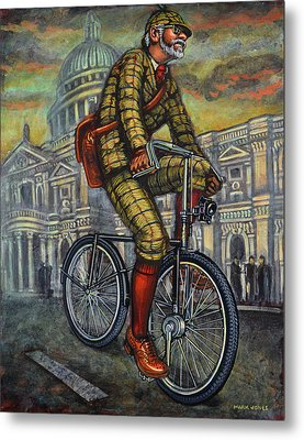 Tweed Run In Apple Green Passing St Paul's London Metal Print by Mark Howard Jones