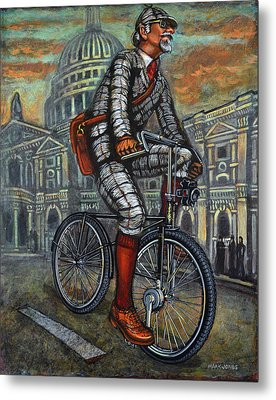 Tweed Run In Grey Passing St Pauls London  Metal Print by Mark Howard Jones