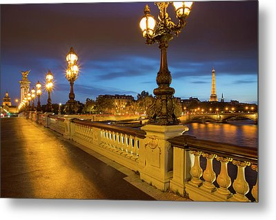 Twilight Along Pont Alexandre IIi Metal Print by Brian Jannsen