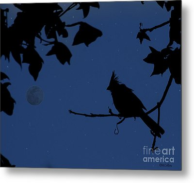 Twilight Sillouette Of Cardinal Metal Print by Amanda Collins