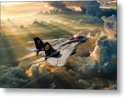 Twilight Tomcatter Metal Print by Peter Chilelli