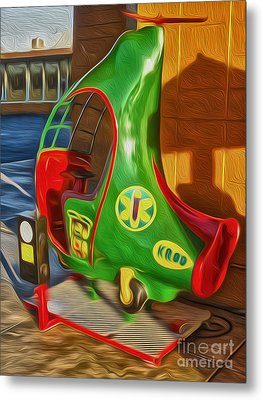 Twirly Bird - Red And Green Metal Print by Gregory Dyer