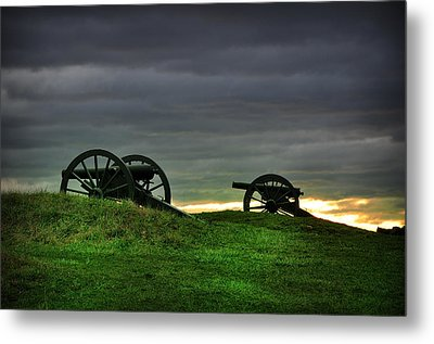 Two Cannons At Gettysburg Metal Print by Bill Cannon