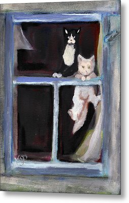 Two Cats Find An Old Window Sill Metal Print by Kemberly Duckett