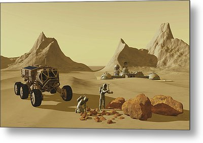 Two Explorers Collect Rock Samples Metal Print by Corey Ford