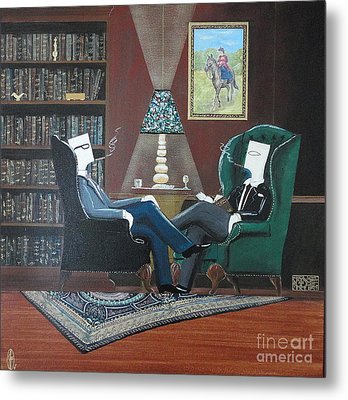Two Gentlemen Sitting In Wingback Chairs At Private Club Metal Print by John Lyes