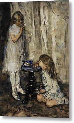 Two Girls Blowing Bubbles Metal Print by Jacob Maris