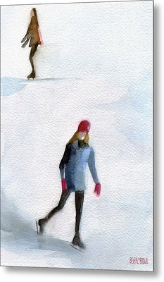 Two Girls Ice Skating Watercolor Painting Metal Print by Beverly Brown Prints