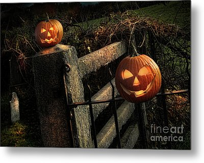 Two Halloween Pumpkins Sitting On Fence Metal Print by Sandra Cunningham
