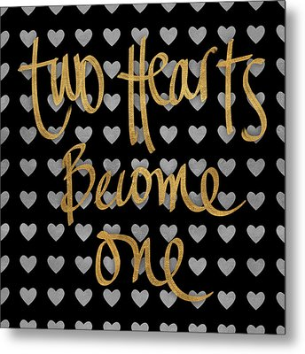 Two Hearts Become One Pattern Metal Print by South Social Studio