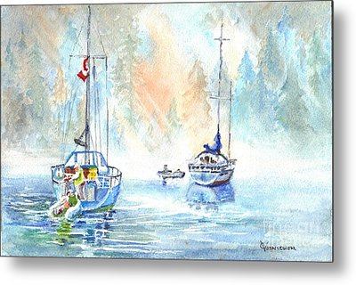 Two In The Early Morning Mist Metal Print by Carol Wisniewski