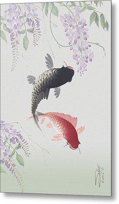 Two Koi And Wisteria Blossoms Metal Print by Matthew Schwartz
