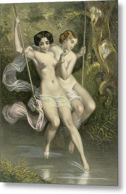 Two Ladies On A Swing Metal Print by Charles Bargue