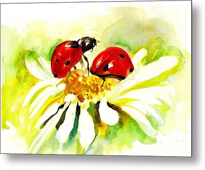 Two Ladybugs In Daisy After My Original Watercolor Metal Print by Tiberiu Soos