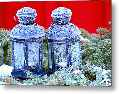 Two Lanterns Frozty Metal Print by Toppart Sweden