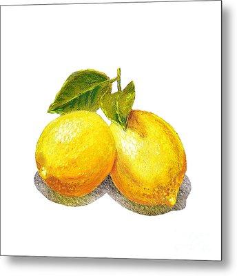 Two Lemons Metal Print by Irina Sztukowski