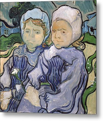 Two Little Girls Metal Print by Vincent Van Gogh