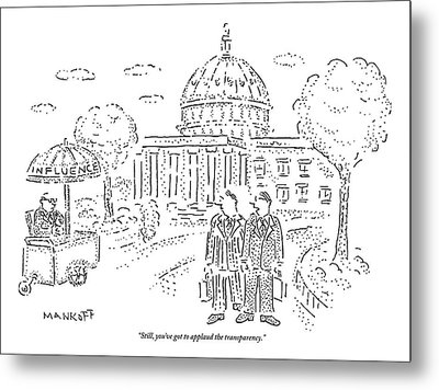 Two Men Speak In Front Of The Capitol And Look Metal Print by Robert Mankoff