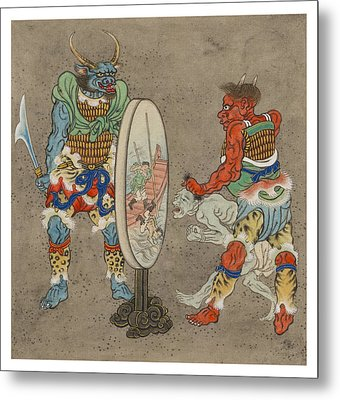 Two Mythological Buddhist Or Hindu Figures Circa 1878 Metal Print by Aged Pixel