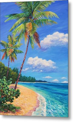 Two Palms In Paradise Metal Print by John Clark