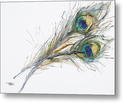 Two Peacock Feathers Metal Print by Tara Thelen