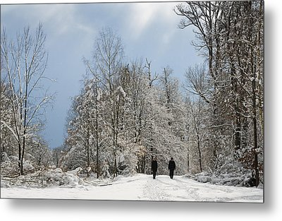 Two People Doing A Walk In Beautiful Forest In Winter Metal Print by Matthias Hauser