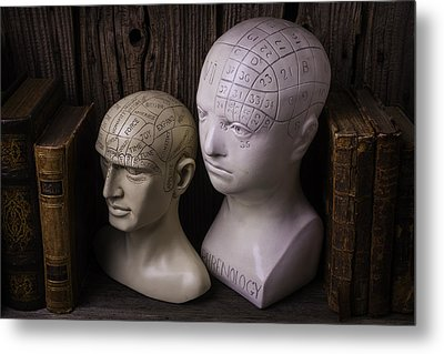 Two Phrenology Heads Metal Print by Garry Gay