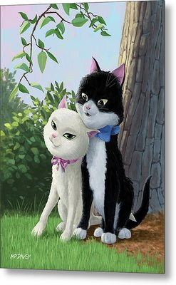 Two Romantic Cats In Love Metal Print by Martin Davey