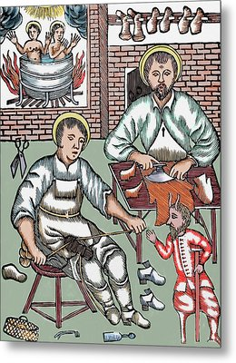 Two Saints Make Shoes Being Tempted Metal Print by Prisma Archivo
