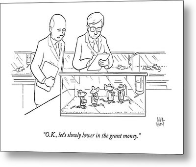 Two Scientists In Lab Coats Observe A Group Metal Print by Paul Noth
