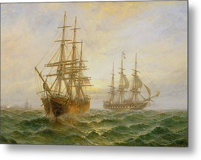 Two Ships Passing At Sunset Metal Print by Claude T Stanfield Moore