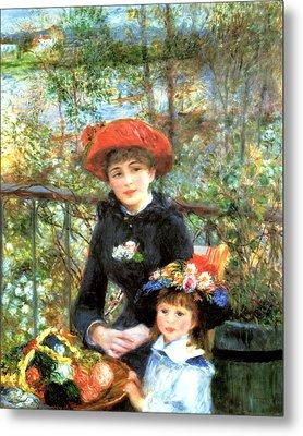 Two Sisters On The Terrace Metal Print by Pierre-Auguste Renoir