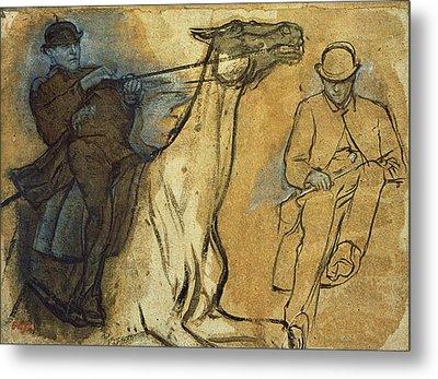 Two Studies Of Riders Metal Print by Edgar Degas