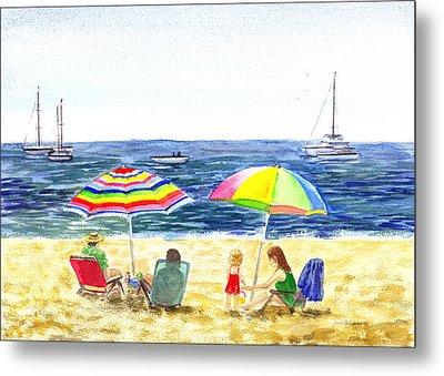 Two Umbrellas On The Beach California  Metal Print by Irina Sztukowski